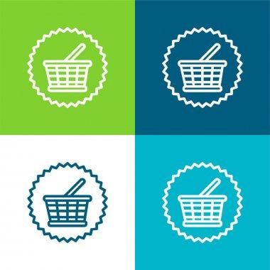 Basket Commercial Symbol Flat four color minimal icon set stock vector