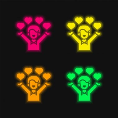 Affection four color glowing neon vector icon stock vector