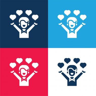 Affection blue and red four color minimal icon set stock vector