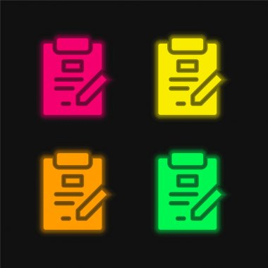 Agreement four color glowing neon vector icon stock vector