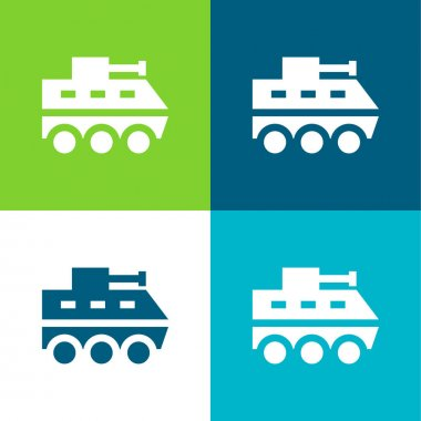 Armored Vehicle Flat four color minimal icon set stock vector