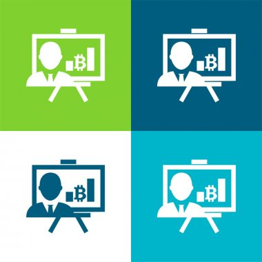 Bitcoin Presentation With Graphs And Reporter Flat four color minimal icon set stock vector