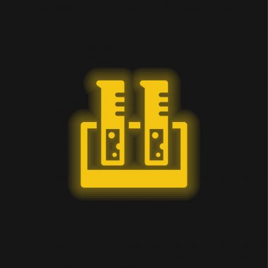 Beaker Glass yellow glowing neon icon stock vector