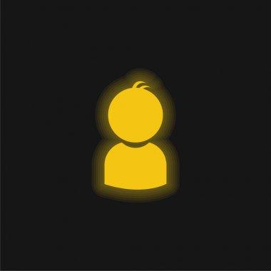 Boy yellow glowing neon icon stock vector