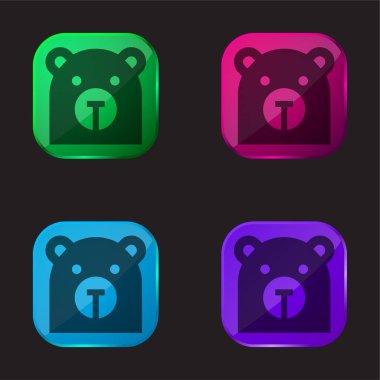 Bear four color glass button icon stock vector