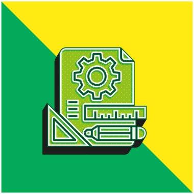 Blueprint Green and yellow modern 3d vector icon logo stock vector