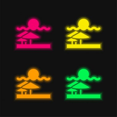 Beach View four color glowing neon vector icon stock vector