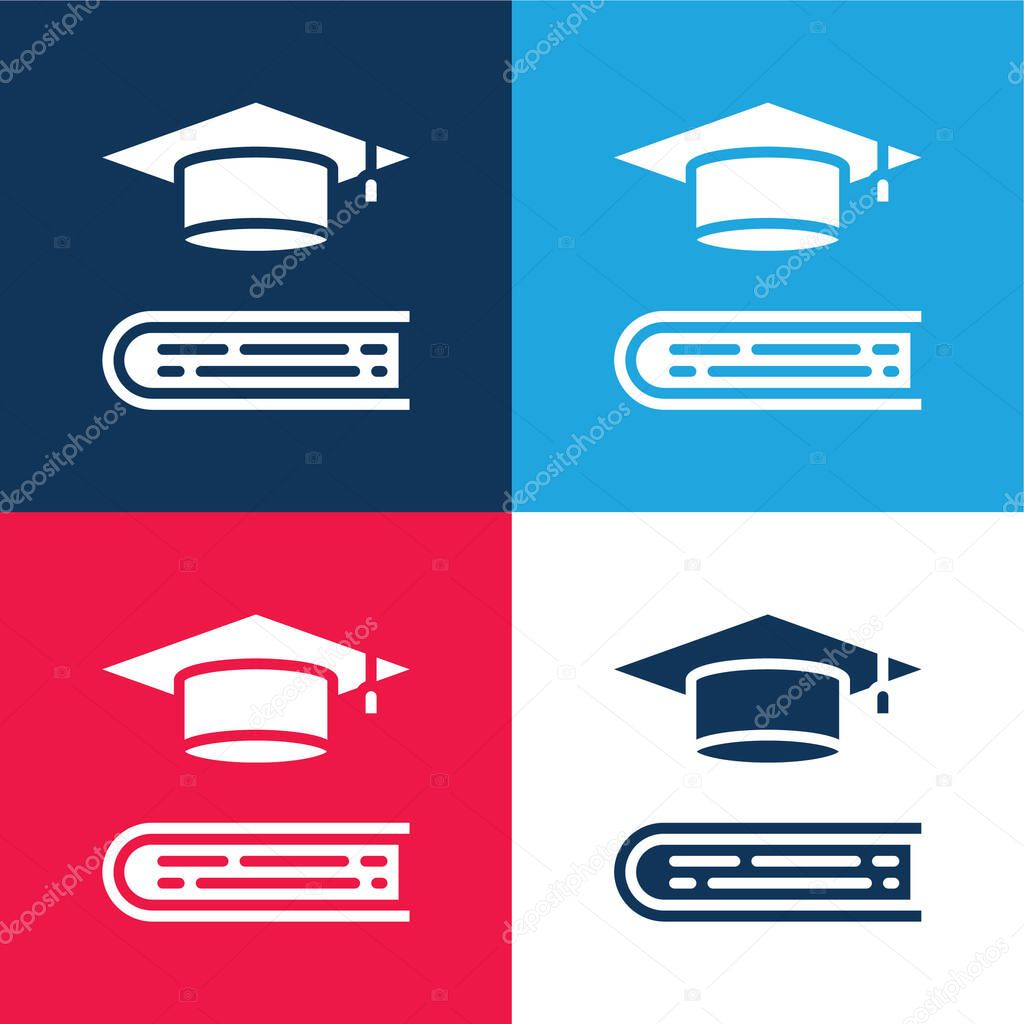 Book blue and red four color minimal icon set stock vector