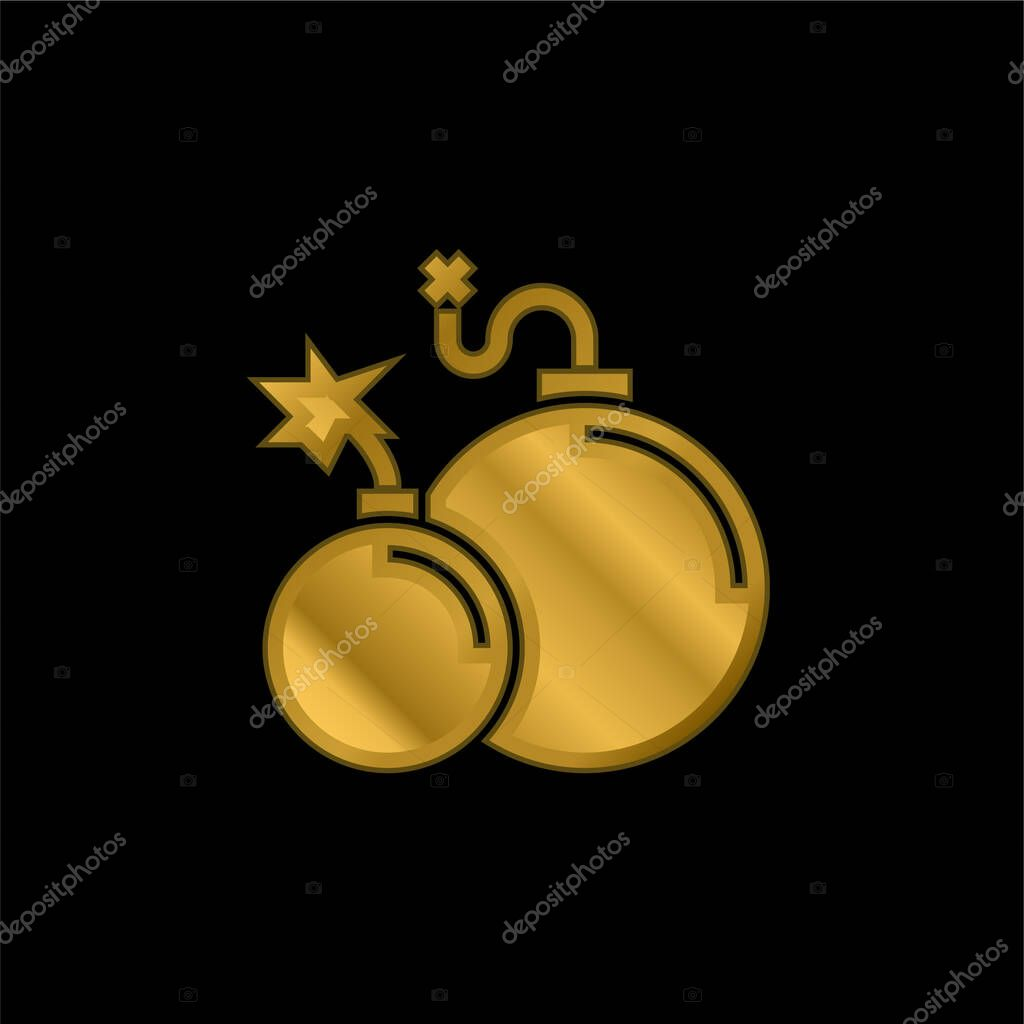 Atomic Bomb gold plated metalic icon or logo vector stock vector