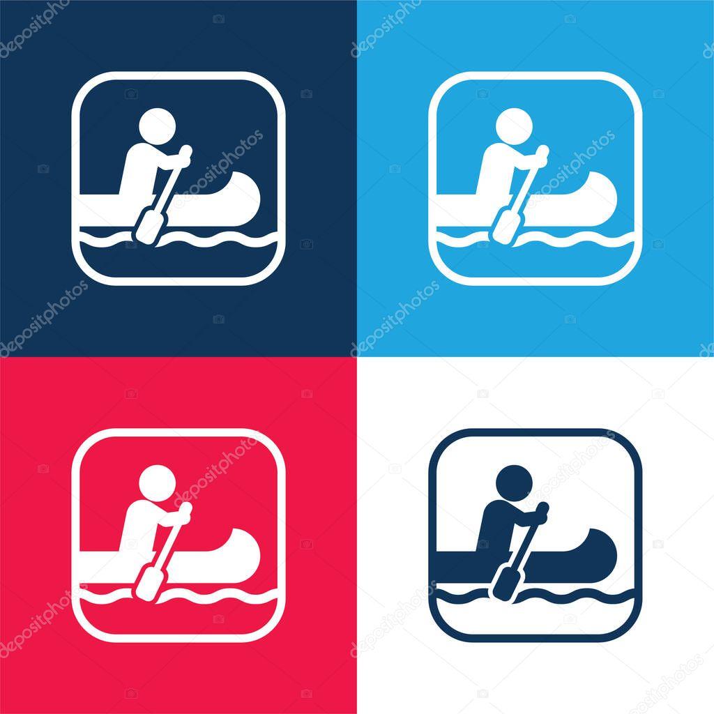 Nautica segno blu e rosso quattro colori set di icone minime