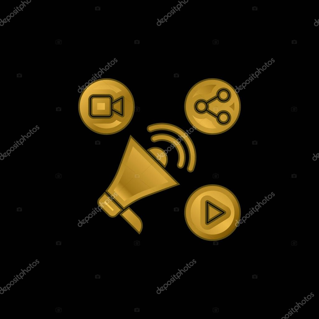 Advertising gold plated metalic icon or logo vector stock vector