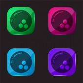 Bowling čtyři barvy skleněné tlačítko ikona