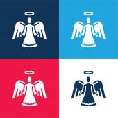 Angel kék és piros négy szín minimális ikon készlet