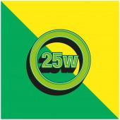 25 Watts Lamp Indicator Green and yellow modern 3d vector icon logo