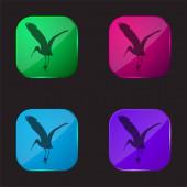 Bird Stork Tvar čtyři barvy skla ikona tlačítka