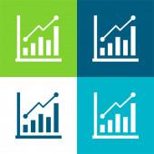 Panel Graf Byt čtyři barvy minimální ikona nastavena