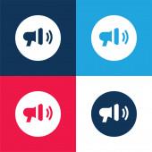 Oznámení modré a červené čtyři barvy minimální ikona nastavena