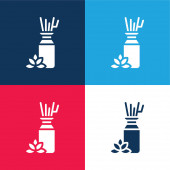 Aromatherapy blue and red four color minimal icon set