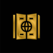 Atlas pozlacená kovová ikona nebo vektor loga