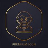 Erwachsener Mann mit Schnurrbart goldene Linie Premium-Logo oder Symbol