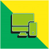 Adaptives grünes und gelbes modernes 3D-Vektor-Symbol-Logo