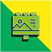 Billboard Zöld és sárga modern 3D vektor ikon logó