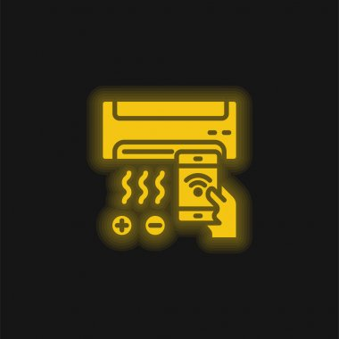 Air Conditioner yellow glowing neon icon stock vector
