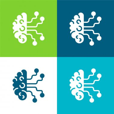 Artificial Intelligence Flat four color minimal icon set stock vector