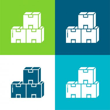 Boxes Flat four color minimal icon set stock vector