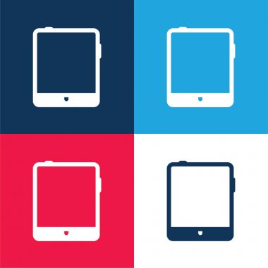 Big Tablet blue and red four color minimal icon set stock vector