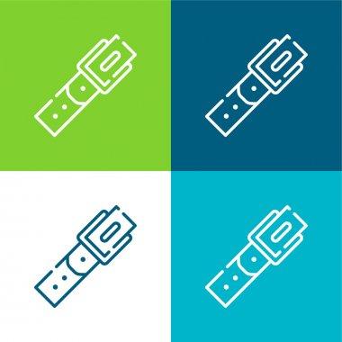 Belt Flat four color minimal icon set stock vector