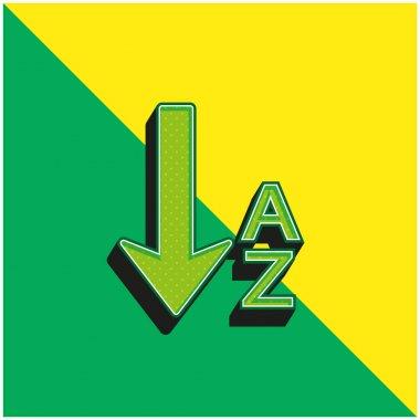 Alphabetical Order Green and yellow modern 3d vector icon logo