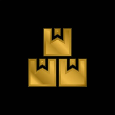 Boxes gold plated metalic icon or logo vector stock vector