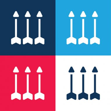 Arrows blue and red four color minimal icon set stock vector