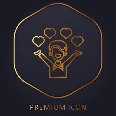 Affection golden line premium logo or icon stock vector