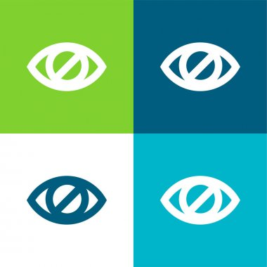 Blind Eye Sign Flat four color minimal icon set stock vector