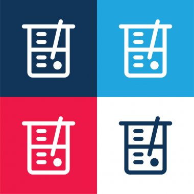 Beaker blue and red four color minimal icon set stock vector