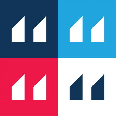 Blocks With Angled Cuts blue and red four color minimal icon set