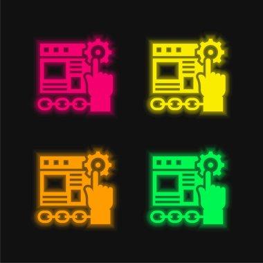 Application four color glowing neon vector icon stock vector