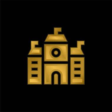 Academy gold plated metalic icon or logo vector stock vector