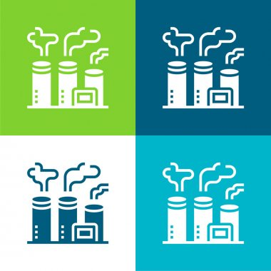 Air Pollution Flat four color minimal icon set stock vector