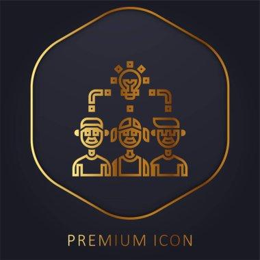 Brainstorm golden line premium logo or icon stock vector