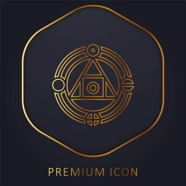 Alchemy golden line premium logo or icon stock vector