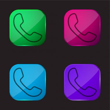 Auricular Of Phone four color glass button icon stock vector