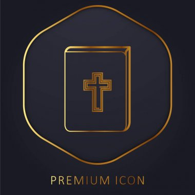 Bible With Cross Sign In Front golden line premium logo or icon stock vector