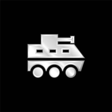 Armored Vehicle silver plated metallic icon stock vector