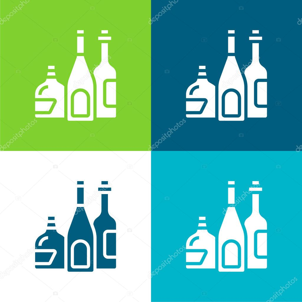 Alcoholic Drink Flat four color minimal icon set stock vector