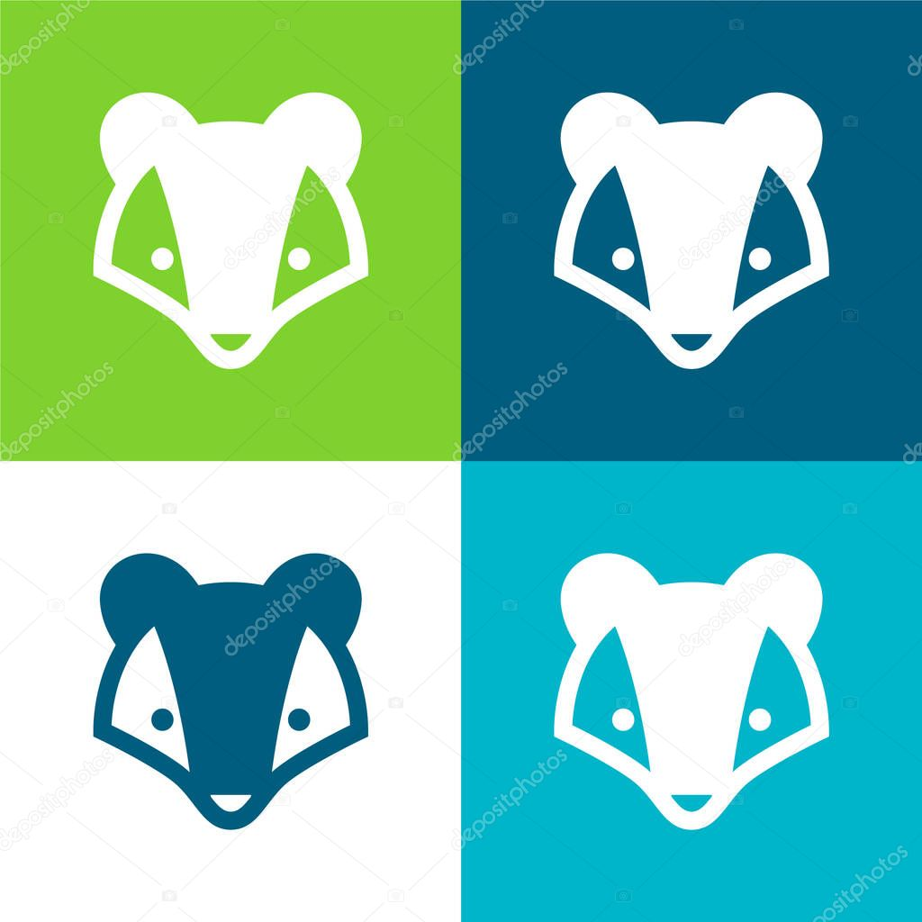 Badger Flat four color minimal icon set stock vector