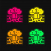 Brain four color glowing neon vector icon