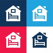 Ubytování modré a červené čtyři barvy minimální sada ikon